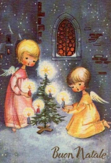 Vintage Christmas Angels Christmas Card ~ Orange Details