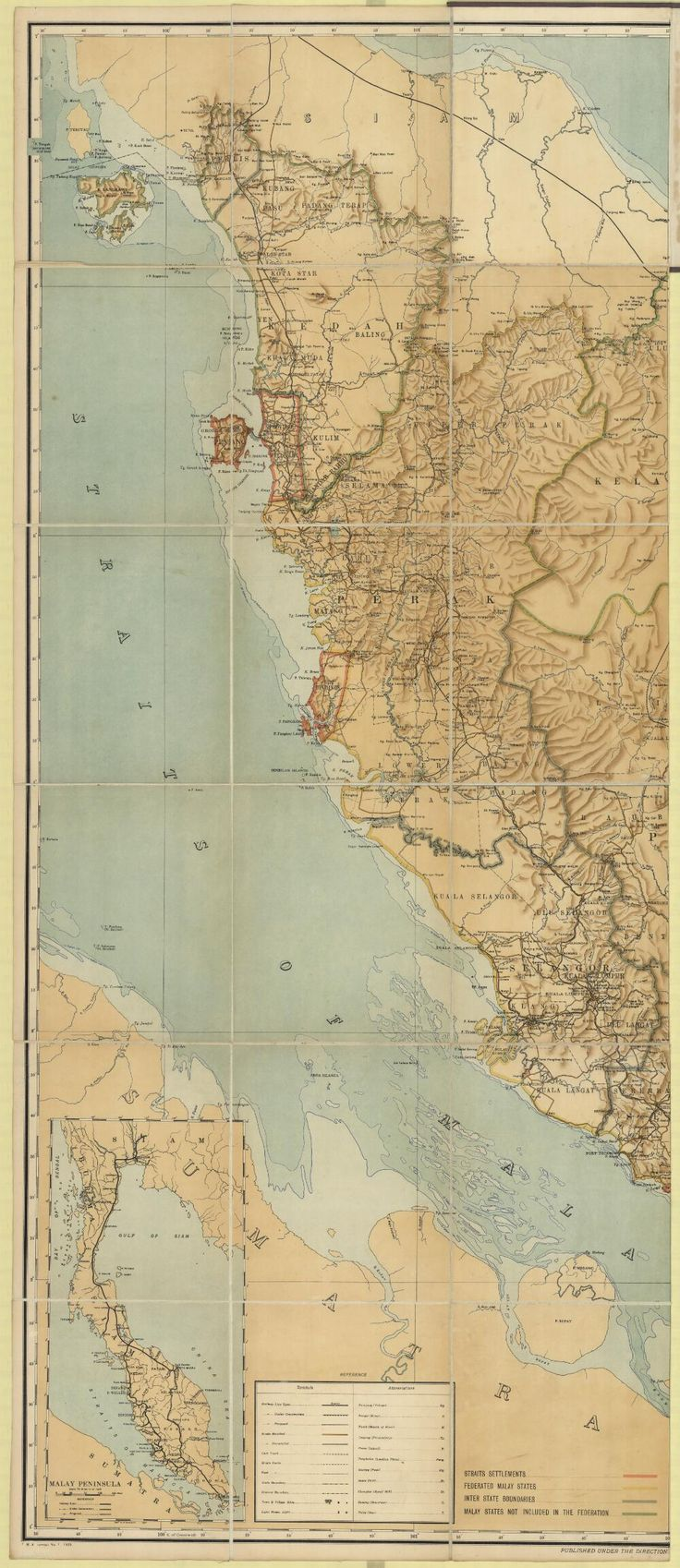 Federated Malay States. Survey Department, cartographer. Map of British Malaya including the Straits settlements, Federated Malay States and Malay States not included in the Federation 1922.