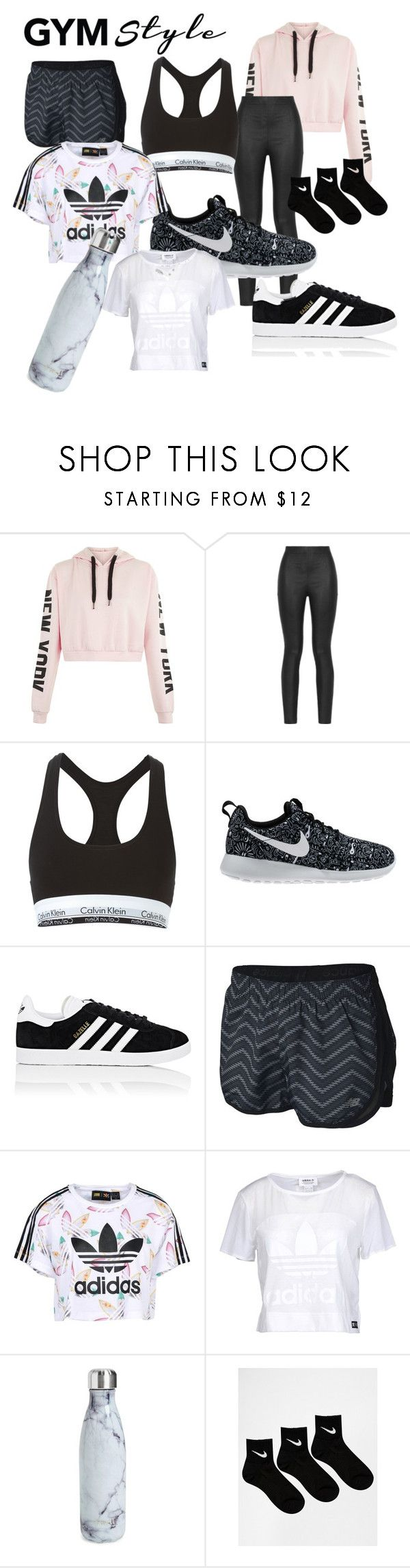 """""""Gym style"""" by phangirl-phashion ❤ liked on Polyvore featuring Armani Jeans, Calvin Klein Underwear, NIKE, adidas, New Balance, adidas Originals and S'well"""