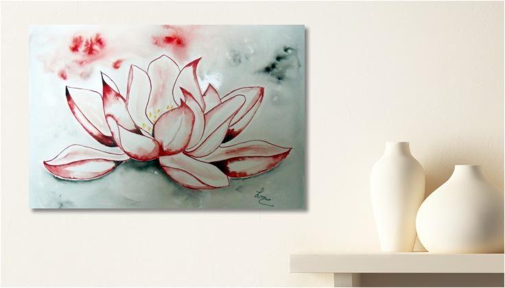Tableau Peinture/dessin: Fleur de lotus une toile de LMC Aquarelles impression sur dibond, verre acrylique et canvas.   my-art.com