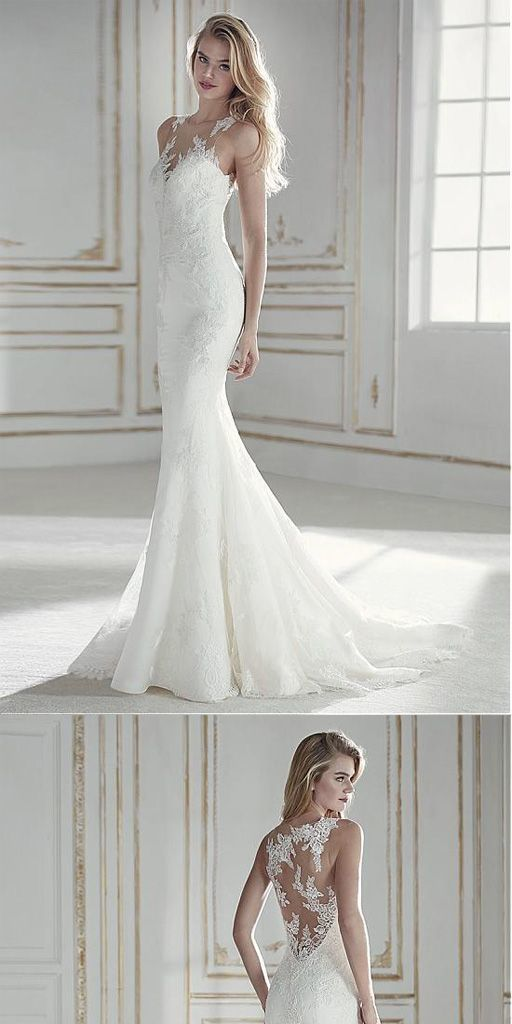 Prom Dresses Simple, Attractive Tulle & Lace Mermaid Wedding Dress With Lace Appliques