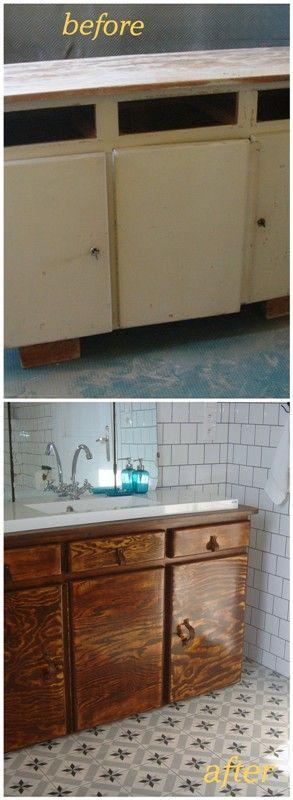 szafka do łazienki zrobiona ze  starego kuchennego kredensu-bathroom cabinet made from an old kitchen cupboard