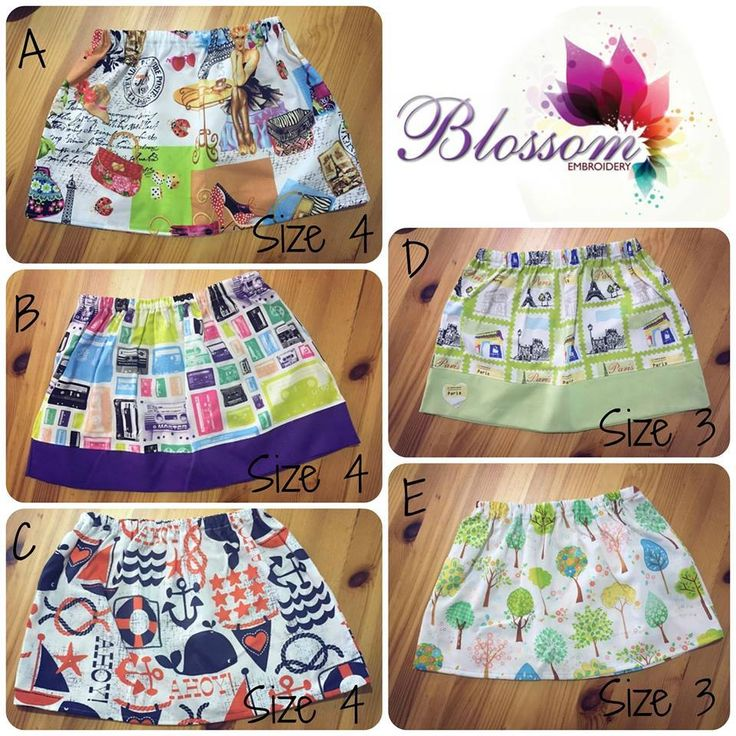Handmade by Blossom Embroidery are these basic skirts by Boo! Designs .