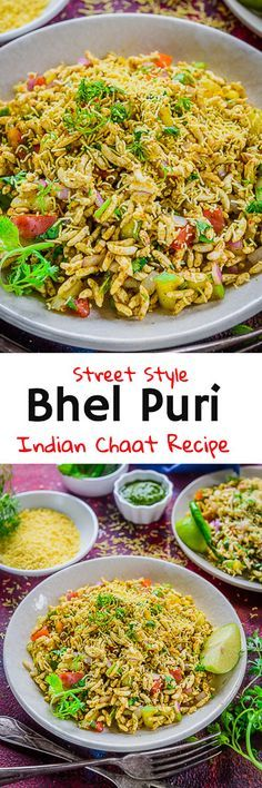 Bhel Puri is a popular street side food from India. Made using puffed rice and an amalgamation of spices and chutneys, it is a treat to the taste buds. Here is a simple step by step recipe to make Bhel Puri at home. #Indian #Chaat #Snack #Recipes #Bhelpuri via @WhiskAffair