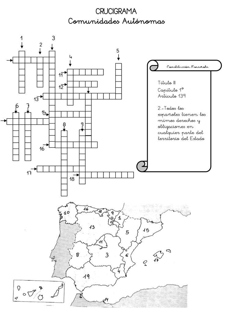 Je viens de trouver sur Pinterest un doc qui va en intéresser plus d'un. Un mot-croisés sur les autonomies espagnoles. Moi perso j'adore l'idée!