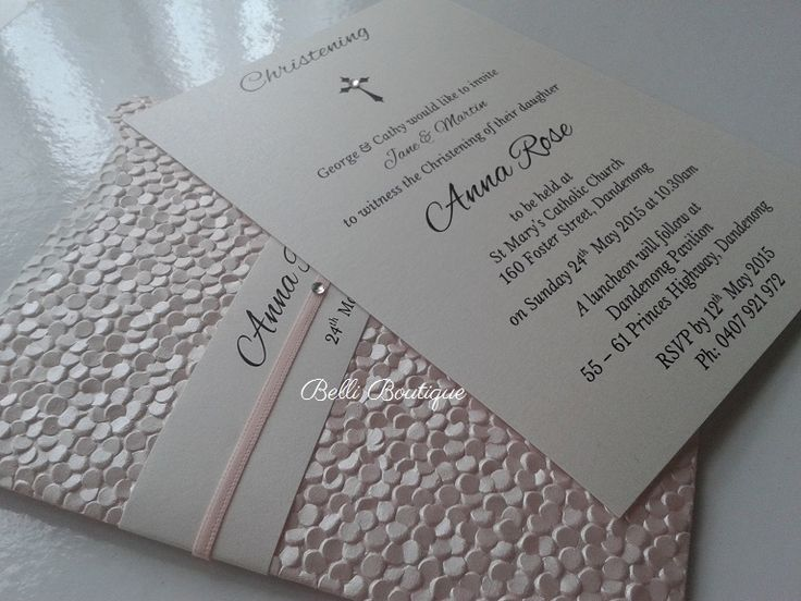 Baptism Invitation. Christening Invitation.  C6 Glamour Pocket in Pebbles baby pink or baby blue pearl, arctic white sash/insert/envelope. Minimum 30 cards. Quantity discounts apply.