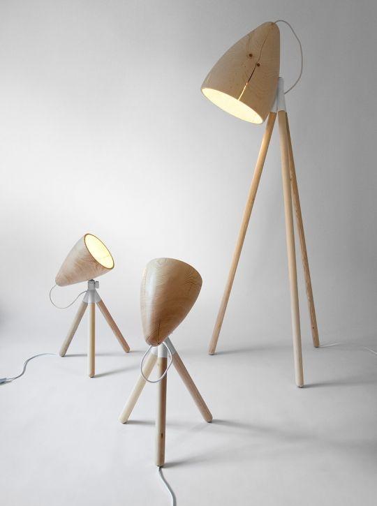 Wooden lamps by Swedish designer   Johan Lindstén