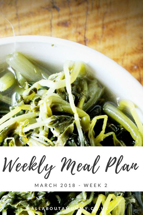 Picture of cooked greens with Weekly Meal Plan title across