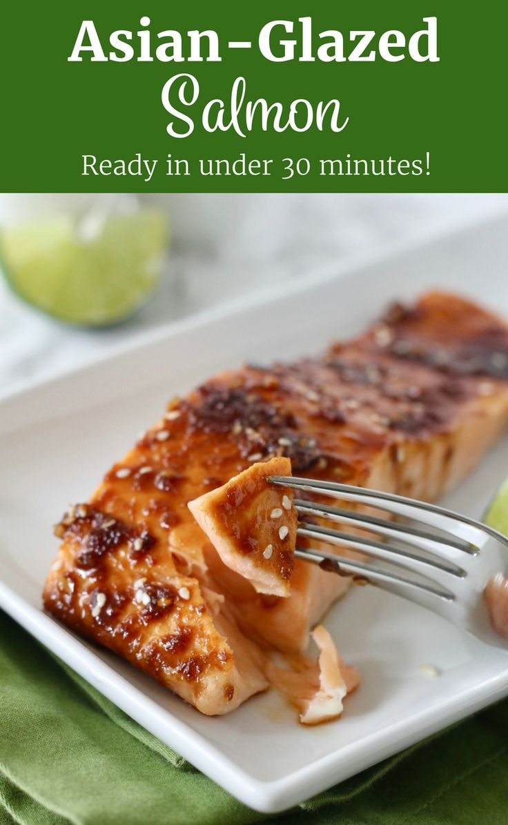 The most delicious Asian-Glazed Salmon recipe! On the table in under 30 minutes! This recipe is easily adaptable to be made gluten-free and refined sugar free. ll www.littlechefbigappetite.com ll Asian Salmon, Asian Dinner, Teriyaki Salmon, Healthy Salmon, Salmon Dinner, Asian Seafood, Salmon with Soy Sauce, Baked Salmon, Easy Salmon, Paleo Salmon, Gluten Free Salmon, Easy Dinner, Healthy Dinner, Clean Eating Salmon