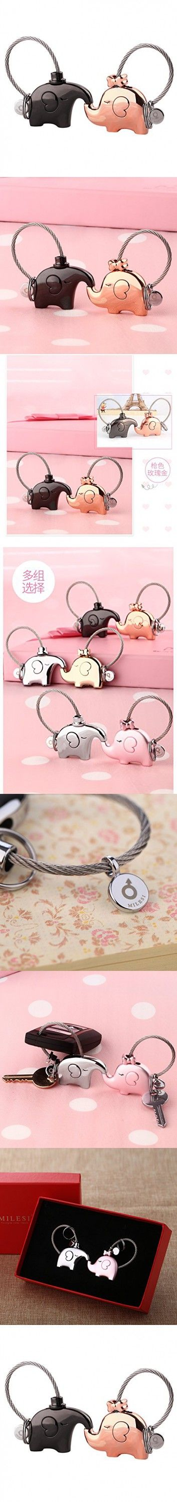 MILESI Official Original Fantastic French Kiss One Pair Elephant Couple Keychain Valentine Gift