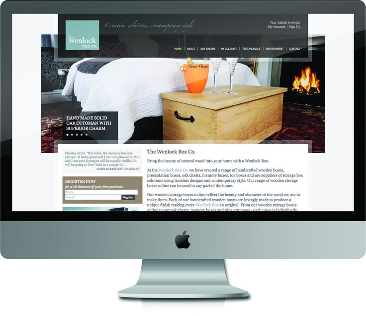 Wenlock Wooden Box - Design and Program of the ecommerce site for this unique business.  #SourceDesign #Shrewsbury #WebDesign #ecommerce