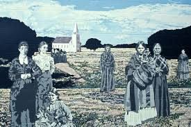 Photo collage of Métis women at Batoche Historic Site. It depicts Marguerite Riel and several others, celebrating their importance in the resistance.