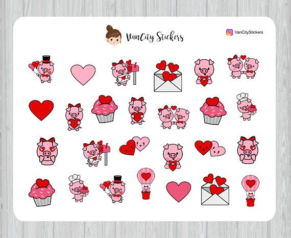 Pig Planner Stickers Pig Valentine's Day Stickers