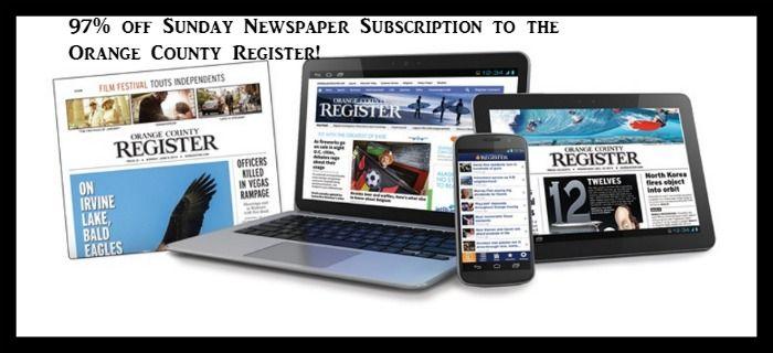97% off Sunday Newspaper Subscription to the Orange County Register! - http://dealmama.com/2017/05/97-off-sunday-newspaper-subscription-orange-county-register/