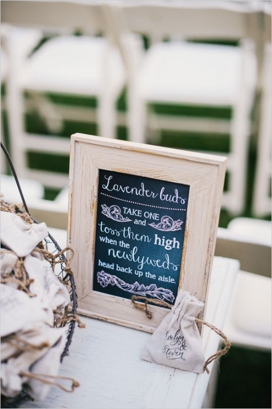 lavender bud toss sign after ceremony #weddingideas #lavendertoss #weddingchicks http://www.weddingchicks.com/2014/03/26/rustic-romance-wedding/