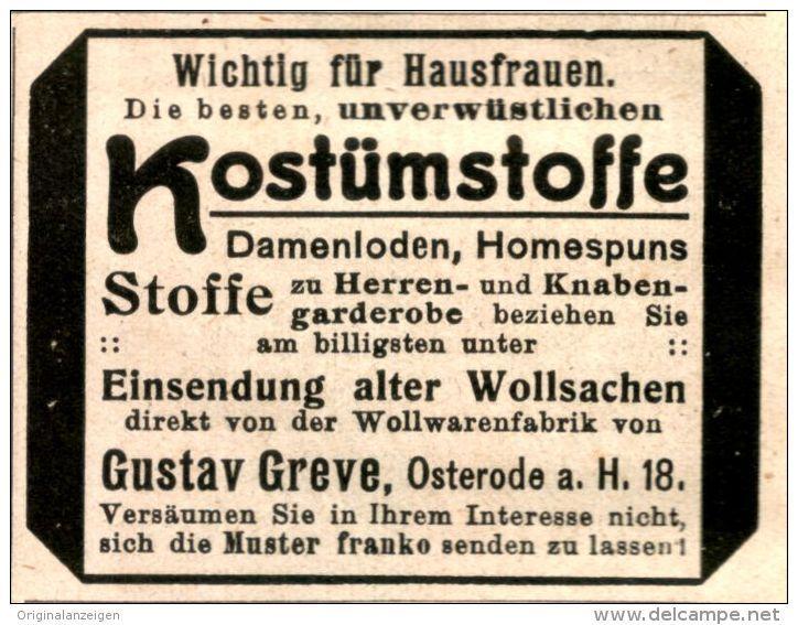 Original-Werbung/Anzeige 1913 - KOSTÜMSTOFFE / GREVE - OSTERODE - ca. 55 x 45 mm