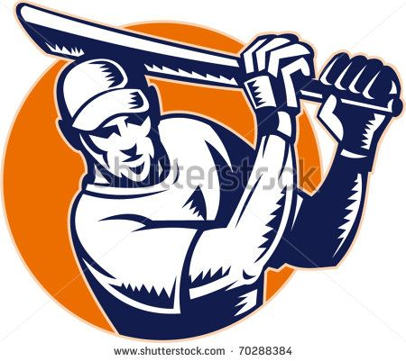 vector illustration of a cricket batsman batting front view - stock vector #cricket #woodcut #illustration