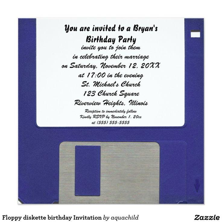 82 best customized unusual invitations images on pinterest floppy diskette birthday invitation stopboris Choice Image