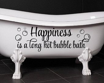 bathroom decor happiness is a long hot bubble bath bubbles wall decal