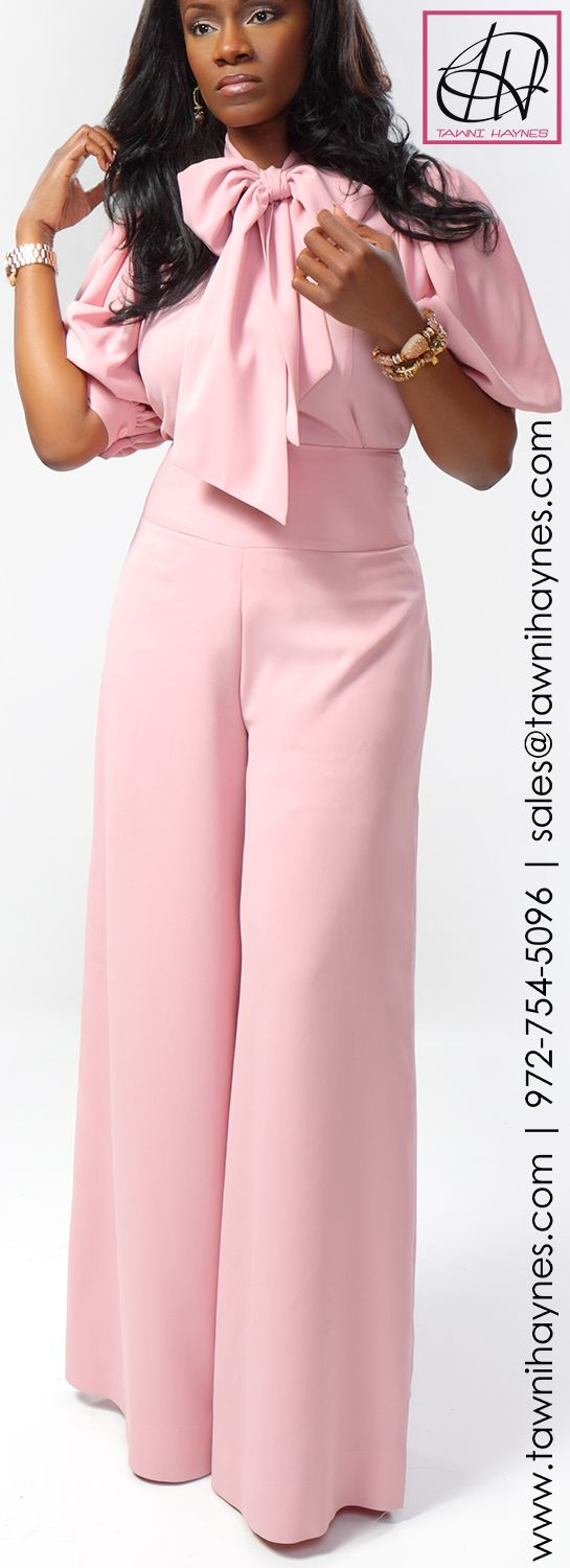 Tawni Haynes Mauve Crepe Bow Blouse  Retro High Waist Wide Leg Slacks! Order by phone 972-754-5096 or online http://www.tawnihaynes.com/blog/crepe-bow-blouse-with-highwaist-wide-leg-slacks/