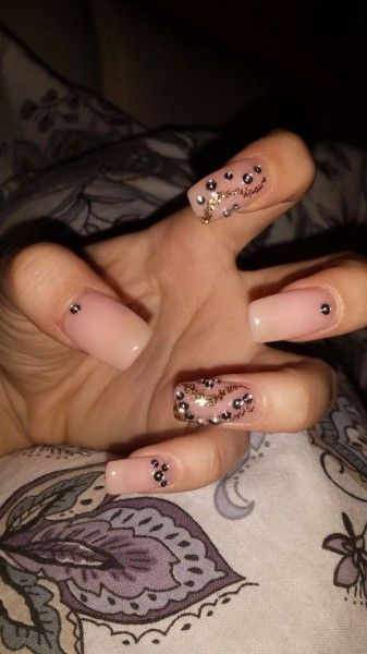 Nude nails with diamonds - Fashion and Love