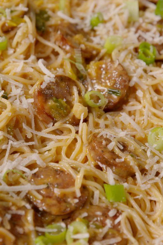 Cajun Angel Hair Pasta. This creamy chicken sausage pasta packs so much flavor.
