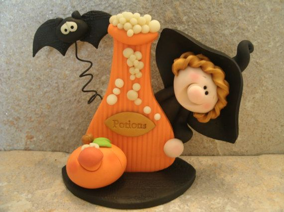 Witch and Potions Bottle  Bat  Jack O by countrycupboardclay,