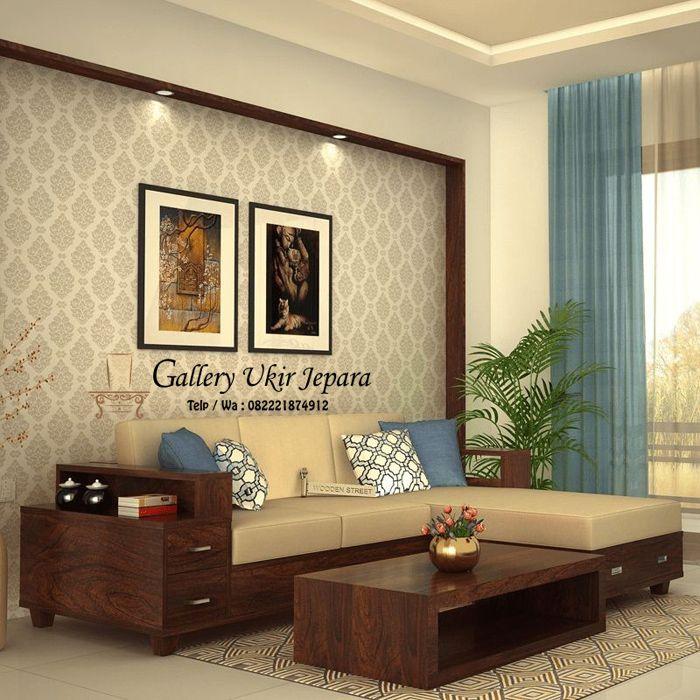 Set Kursi Tamu Sudut Minimalis Jati Terbaru Wooden Sofa Designs Living Room Sofa Design Wooden Sofa Set
