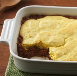 Sloppy Joe Cornbread Bake - Sloppy Joes sandwich filling baked under a cornbread topper for an easy casserole dish