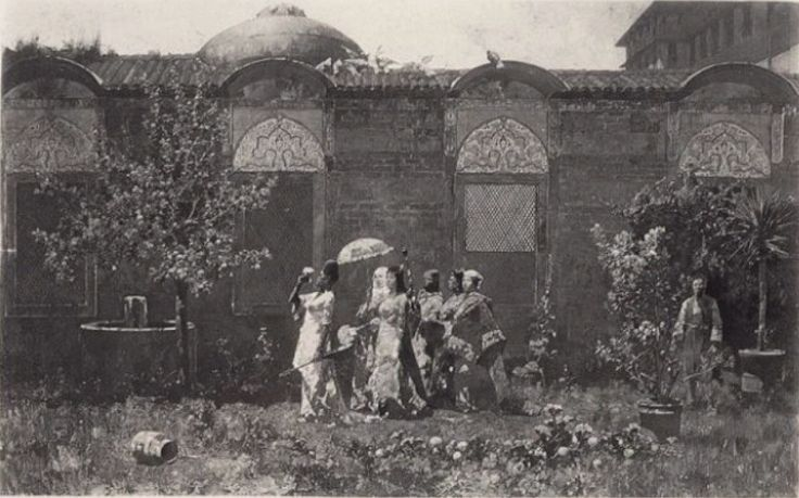 Alberto Pasini,Photogravure of Promenade of the Harem 1878