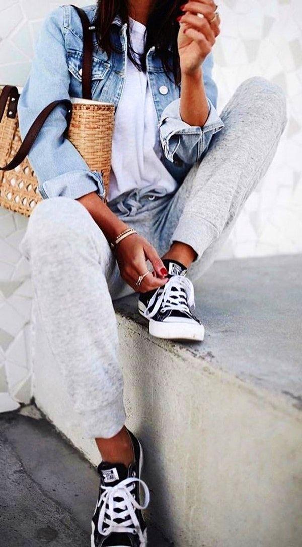 #fall #outfits  women's grey sweatpants