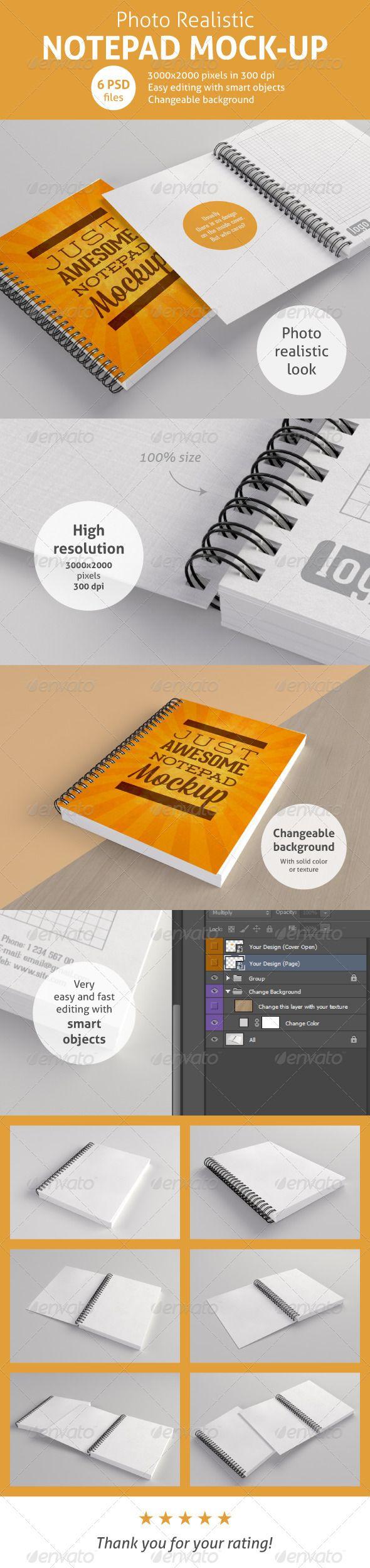 Realistic Notepad Mock Up Mockup Business Card Mock Up Mockup Photoshop