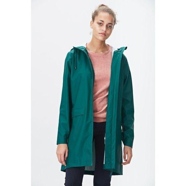 Rains W Coat - Dark Teal ($110) ❤ liked on Polyvore featuring outerwear, coats, raincoats, rain coat, blue raincoat, pocket raincoat, rains raincoat and mac coat