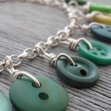 Button Necklace, Children could make this with wool or cord.