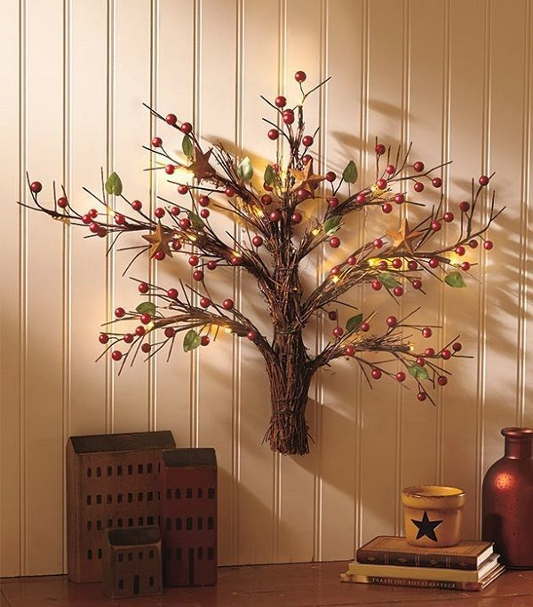 rustic wall art tree | Wall Sculpture Tree Lighted Art Rustic Country Primitive Cabin Star ...