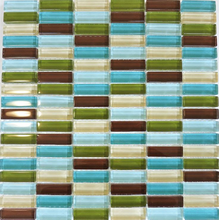 Lush Blend 1/2x2 Big Sur - Brown Blue Glass Subway Tile
