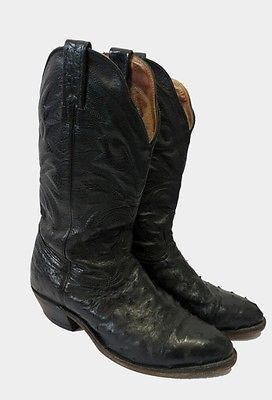Mens Boulet Black Leather Full Quill Ostrich Cowboy Boots 7 3E Wide Western