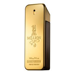 """1 Million by Paco Rabanne - Fragrance of a precursor of the modernity. The bottle (a golden ingot) reminded the name of the perfume which allows a fast identification and stays very close to the metallic universe of the ready-to-wear clothing Paco Rabanne, but allowing to the younger to access to a brand of fashion design. It symbolizes """"dreams and fantasize"""", male and modern, while the typography of its logo, inspired by Wild West, conveys the image of seduction, success and daring."""