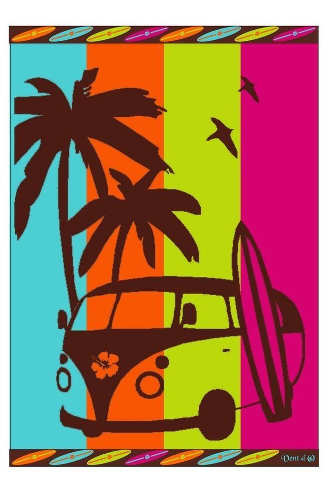 DRAP DE PLAGE BIPLACE VAN HAWAI 140x200cm #Fun   Drap de plage ...