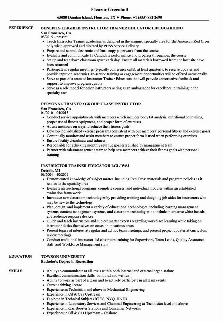 Group Fitness Instructor Resume Luxury Trainer Instructor