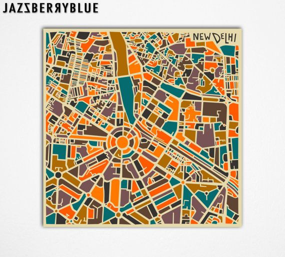NEW DELHI MAP, Giclee Fine Art Print, Modern Abstract, India, Wall Art, Home Decor (13x13) by Modern Artist Jazzberry Blue