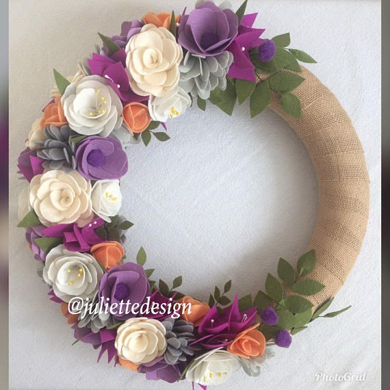 Welcome to my shop! This beautiful colorful wreath is about 38 cm (15 inches) . It has been wrapped with burlap and designed with handmade felt flowers with too much love and care. All flowers are handcut and handmade by me with quality materials. It is a wonderful choice to