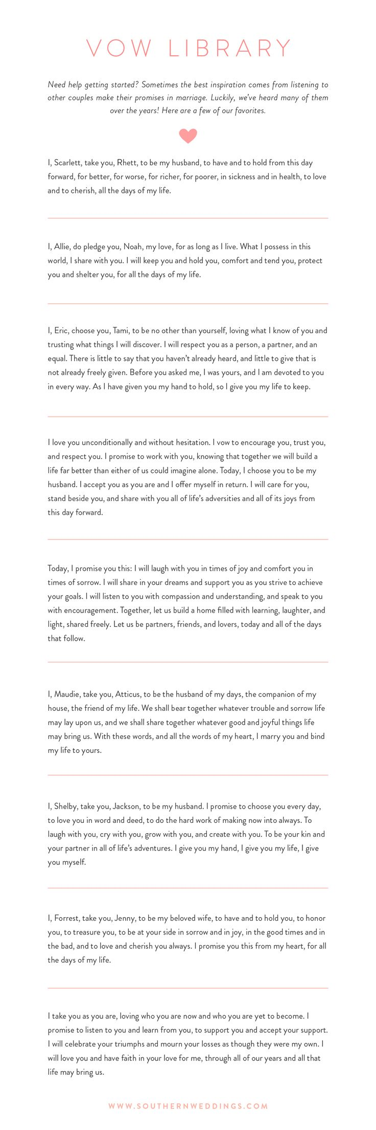 Best 25 wedding vows ideas on pinterest vows wedding promises 9 romantic wedding vows junglespirit Gallery