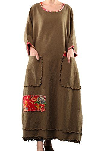 Mordenmiss Women's Bat Sleeve Cotton Linen Clothing Plus Size Dress Brown Green Mordenmiss http://www.amazon.com/dp/B00OG42OW8/ref=cm_sw_r_pi_dp_dWb.vb00GK1G5