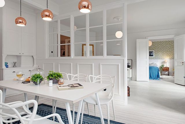 my scandinavian home: White, blue and a touch of brass in Gothenburg