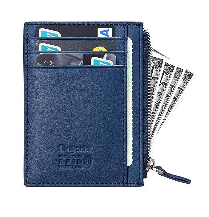 Carte Bleue Zip.Flintronic Portefeuille En Cuir Bleu Etui Rfid Blocage