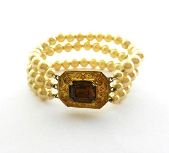 1940s Italian simulated pearl bracelet/cuff   by RAKcreations