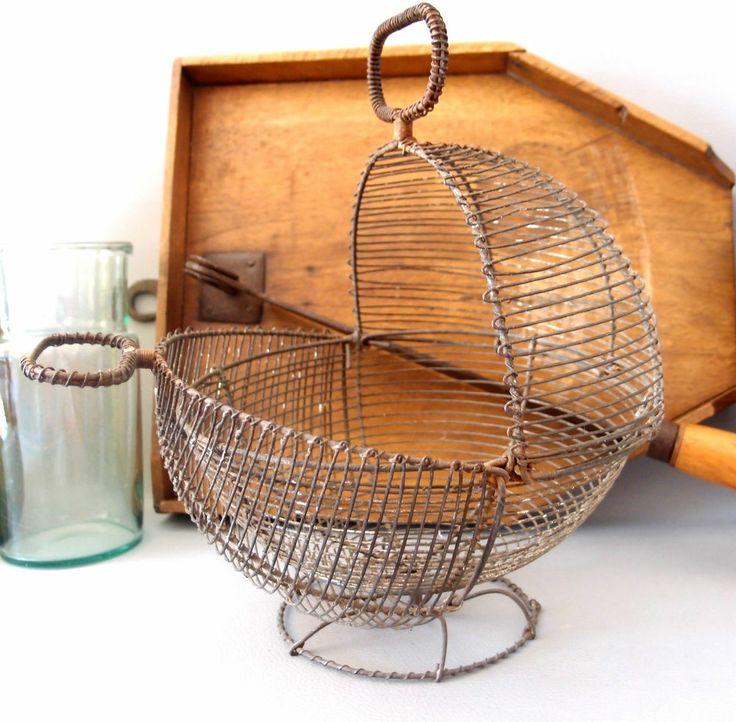 Ancien panier a oeuf fil de fer deco cuisine antique - Panier a oeuf ...