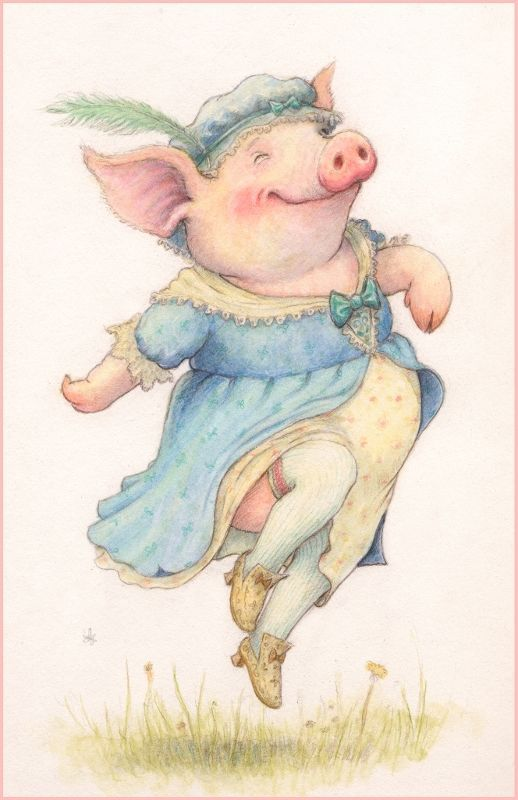 Открытки свинок, гиф танцы
