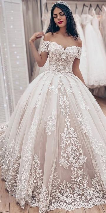 Off the Shoulder Ball Gown Wedding Dress, Fashion Custom Made Bridal Dresses, Plus Size Wedding dress BDS0642